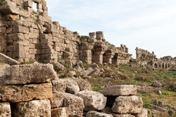 Ancient ruins in the town of Side, Turkey