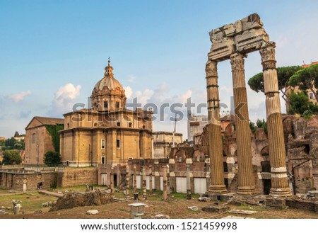 Ancient ruins of ancient Rome on  streets of Rome