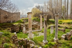 Ancient Ruins of Aphrodisias. Sculptures in Aphrodisias, Aegean Turkey.