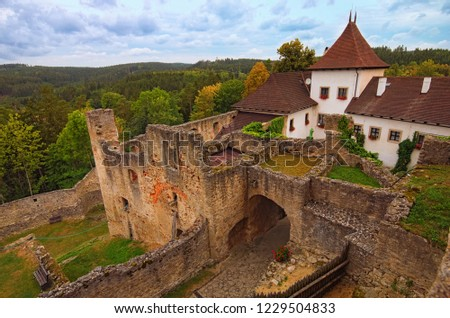 Ancient ruins of Landstejn Castle. It is the oldest and best preserved Romanesque castle in Europe.  Travel and tourism concept. Summer cloudy day. South Bohemian, Czech Republic.
