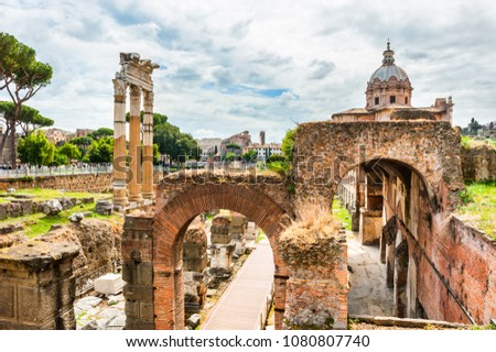 Ancient ruins of Roman Forum in Rome, Italy