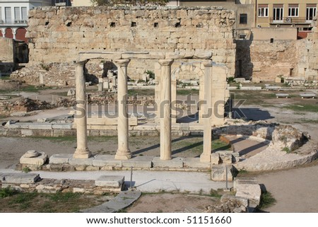 Ancient ruins of the Agora in the centre of Athens, Greece. - stock photo