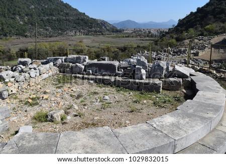 Ancient ruins of the ancient city of Kaunos.Dalyan.Turkey
