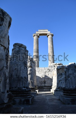 Ancient ruins of the ancient temple of Apollo.Didyma.Turkey