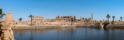 Ancient ruins of the Karnak Temple in Luxor (Thebes), Egypt. The largest temple complex of antiquity in the world. UNESCO World Heritage.