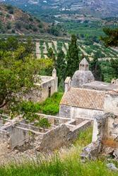 Ancient ruins of The Monastery of Preveli on Crete island, Greece
