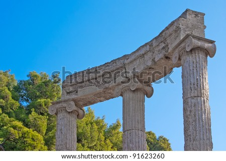 Ancient ruins of the Philippeion at Olympia, Greece. Detailed view of the Philippeion, showing the construction of the crepidoma. UNESCO world heritage site.