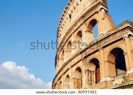 Ancient ruins Roman Colosseum. View from side