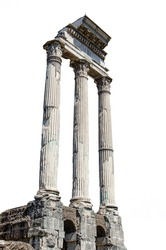 Ancient ruins - roman columns isolated on white background. Columns of Temple of Castor and Pollux in Roman Forum, ancient pillars on white.