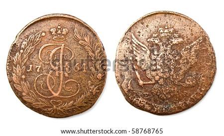 ancient russian coin (Ekaterina II, 1764)