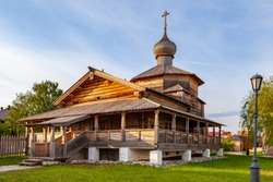 Ancient Russian wooden church of the Orthodox Church. A wooden temple on the island of Sviyazhsk which stands on the great Volga river.
