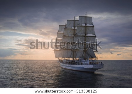 Ancient sailing ship in the sea