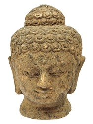 Ancient sand stone Buddha face isolated on white