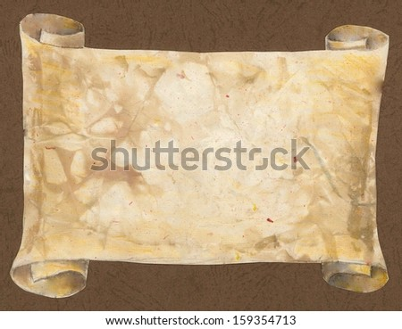 Ancient scroll on brown background
