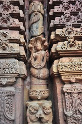 Ancient sculptur of Nagarani (Snake Queen) , easily mistaken by Westerners for a mermaid. Hindu Temple. Bhubaneshvar, Odisha, Inida.