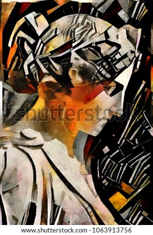 Ancient sculpture of ancient Greek historical monuments. A masterpiece of world culture in the style of abstraction of cubism. The picture is made by oil on canvas with elements of acrylic painting.