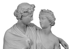 Ancient sculpture of Bacchus and Ariadne. Marble man and woman statue isolated on white background.