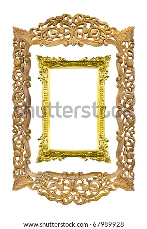 ancient sculpture wood frame isolated on white background