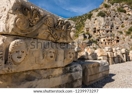 Ancient sculptures, ancient tombs, Myra, Turkey