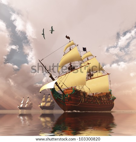 Ancient Ships - Three tall ships in full sail cross a large ocean with glistening calm seas.
