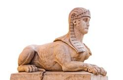 Ancient sphinx figure isolated on white background