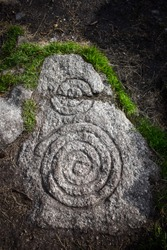 Ancient Spiral Stone Carving at Celtic Passage Tomb, Ireland