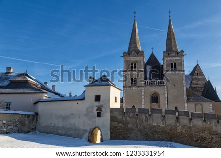 Ancient Spisska Kapitula and Saint  Martin Cathedral ( Spis Chapter house , Slovak Vatican ) at winter. Spisske Podhradie, Slovakia, UNESCO World Heritage Site. Tourist attraction, tourist destination #1233331954