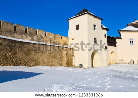 Ancient Spisska Kapitula,  known as Slovak Vatican  on blue sky background  at winter. Spisske Podhradie, Slovakia, UNESCO World Heritage Site. Tourist attraction, tourist destination #1233331966