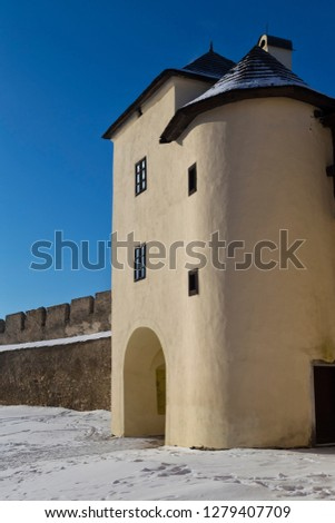 Ancient Spisska Kapitula,  known as Slovak Vatican  on blue sky background  at winter. Spisske Podhradie, Slovakia, UNESCO World Heritage Site. Tourist attraction, tourist destination #1279407709
