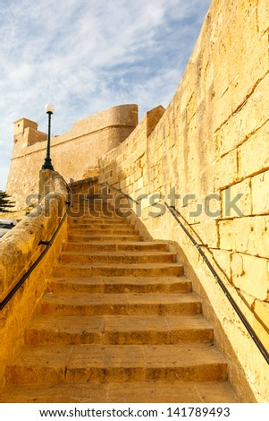 ancient stairs in the castle Rabat (Victoria) fortress (Gozo, Maltese islands)