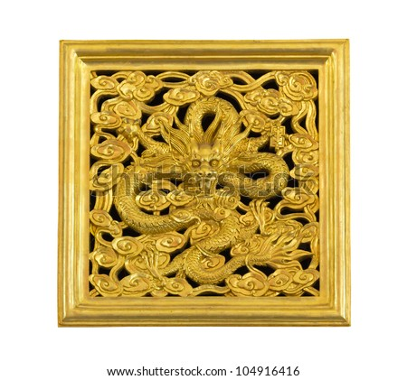 Ancient statue of golden dragon on white background