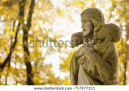 ancient statue of jesus christ...