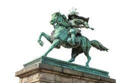 Ancient statue of Kusunoki Masashige, a Japanese samurai of the Kamakura period, isolated on white background