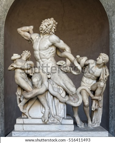 Ancient statue of Laocoon and his Sons in Vatican, Italy. The Trojan Laocoon was strangled by sea snakes with his two sons