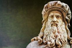 Ancient statue of Leonardo da Vinci in Florence