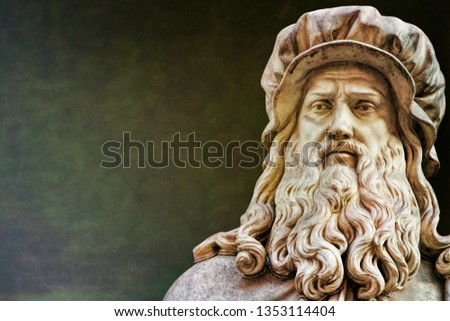 Ancient statue of Leonardo da Vinci in Florence