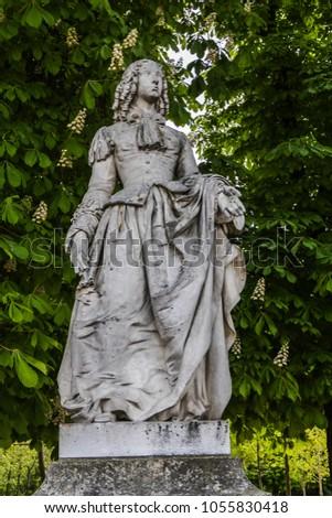 Ancient statues in Luxembourg Garden (Jardin du Luxembourg). Jardin du Luxembourg - second largest Public Park in Paris. Park is garden of French Senate. Paris, France. #1055830418