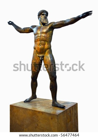 Ancient statuette isolated against a white background