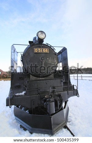 Ancient steam locomotive and blue  sky  in  Iwate  japan