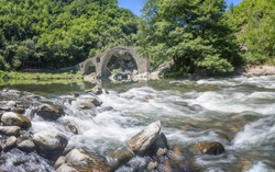 Ancient stone bridge over Arda river, Rhodope mountain, Bulgaria
