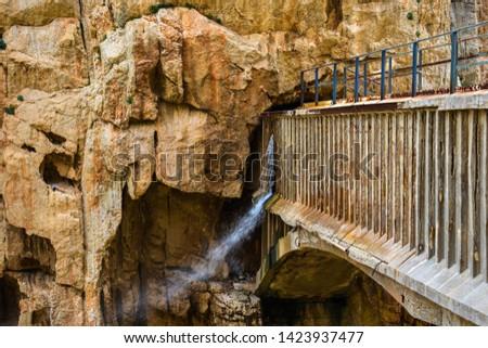 ancient stone canyon with bridge