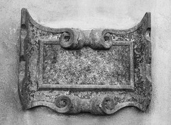 ancient stone carved frame on wall
