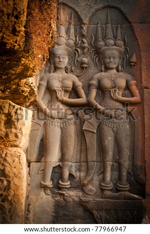Ancient Stone Carvings in the temple, Angkor Wat, Cambodia