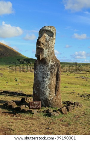 Ancient stone statues called moai, on Easter Island in the South Pacific