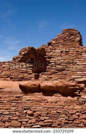 Ancient stone structure built into the surrounding sandstone, Wupatki Pueblo, Wupatki National Monument, near Flagstaff, Arizona.