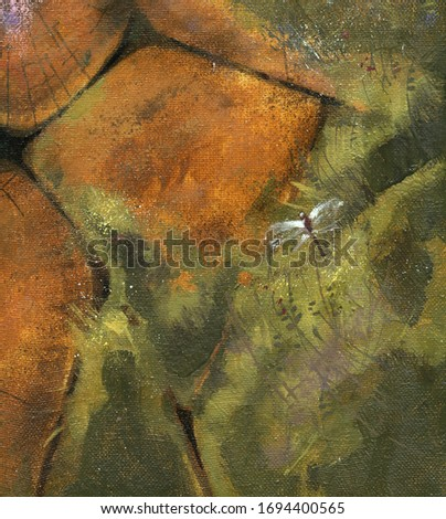 Ancient stone wall. Rock, moss, grass. Canvas, oil. Artistic background. Old architecture.