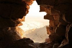 Ancient stone window of Masada fortress in Israel