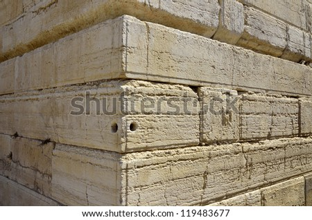 Ancient stones of Western Wall corner in old city of Jerusalem, Israel.