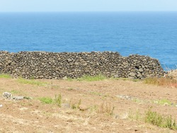 Ancient stonewall, field and Atlantic Ocean on Tenerife, Canary Islands