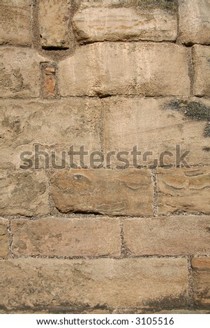 Ancient stonework on a historic abbey wall